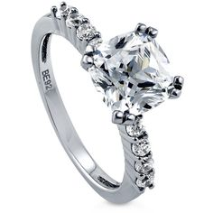 BERRICLE BERRICLE Sterling Silver 2.24 ct.tw Cushion CZ Solitaire Engagement Wedding Ring featuring polyvore, fashion, jewelry, rings, clear, women's accessories, wedding rings, sterling silver engagement rings, cushion cut engagement rings, round cut engagement rings and anniversary rings