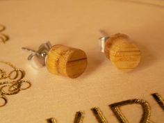 Wooden stud earrings by OccasionsHalkirk on Etsy