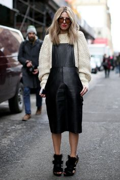 Pin for Later: Flashback Friday: NYFW Street Style Stars Trekked Through the Snow For Fashion NYFW Street Style Day 4 A leather pinafore and open-toed shoes teamed up for an attention-getting mix. Source by wynterbloom fashion street Fashion Week, New York Fashion, Star Fashion, Look Fashion, Girl Fashion, Autumn Fashion, Womens Fashion, Fashion Trends, Street Fashion