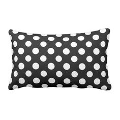 Black and White Polka Dot Pattern Lumbar Pillow ($37) ❤ liked on Polyvore featuring home, home decor, throw pillows, decor, polka dot, black and white home accessories, polka dot throw pillows, lumbar throw pillow, polka dot home decor and black and white toss pillows