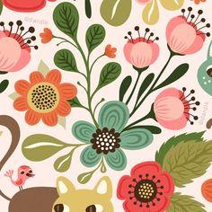 By Helen Dardik tole painting feel Pretty Patterns, Flower Patterns, Henna Patterns, Pattern Drawing, Pattern Art, Floral Illustrations, Illustration Art, Motif Floral, Retro Floral