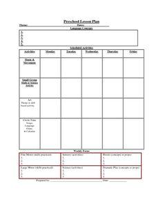 » Printable Lesson Plan Template Nuttin' But Preschool