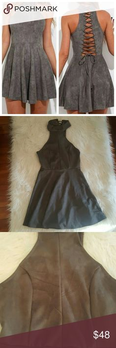 New Faux Suede Dress Brand new without tags. Super soft faux suede. High quality. Side hidden zipper. Stretchy.  Offers welcome! Dresses Mini