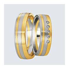 Verighete din aur alb cu aur galben si briliante. Cu interiorul bombat, pentru un confort maxim la purtare. Aur, Wedding Rings, Engagement Rings, Interior, Jewelry, Enagement Rings, Jewlery, Indoor, Jewerly