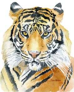 Tiger watercolor giclée reproduction. Portrait/vertical orientation. Printed on fine art paper using archival pigment inks. This quality printing allows over 100 years of vivid color in a typical home