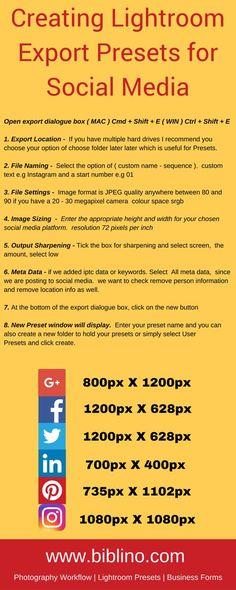 FREE 6 Lightroom presets + Creating Lightroom export presets for social media infographic