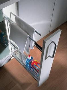 Make the most of a narrow space in your kitchen with Hafele& Pull-Out Base Towel Rail and organize your baking trays, serving trays or cutting boards. With lbs load bearing capacity, very durable made of steel with a chrome plated finish. New Kitchen Cabinets, Kitchen Countertops, Kitchen Sinks, Kitchen Towel Rail, Shaker Cabinets, Kitchen Backsplash, Kitchen Organization, Kitchen Storage, Storage Organization
