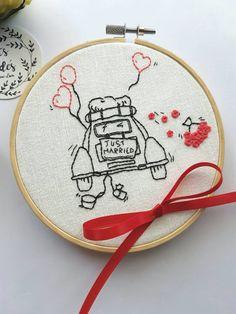 Stickerei zur Heirat – im Stickrahmen. Auf Etsy.