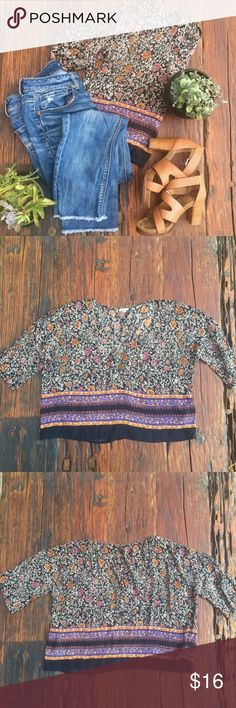 multicolored Urban Outfitters blouse Boho, flowy blouse bought at UO. A little on the shorter side, but not entirely a crop top. Light material, perfect for summer. Barely worn, still in great condition. Ecote Tops Blouses