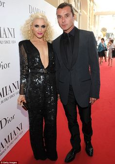 Gwen Stefani glitters in a VERY low cut sequinned jumpsuit at Cannes