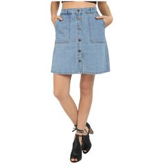 ONLY New Farrah A-Line Denim Skirt Women's Skirt ($39) ❤ liked on Polyvore featuring skirts, mini skirts, straight denim skirt, blue denim skirt, blue denim mini skirt, blue mini skirt and blue skirt
