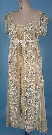 early 1920's Heavily Embroidered Cotton Net Dress
