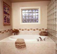 Glass Block Shower, Shower Systems, Glass Blocks, Corner Bathtub, Paint Colors, Chicago, Home, Ideas, Space