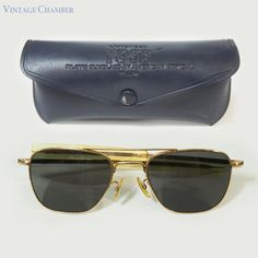 abfe2c812a Vintage Vietnam War Era American Optical AO Gold Filled Aviator Sunglasses