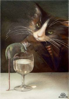 Cat and Mouse Illustration by Marina Marcolin