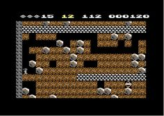 Scene from Boulderdash, Commodore 64, 1984. An original and frustrating though addictive game.