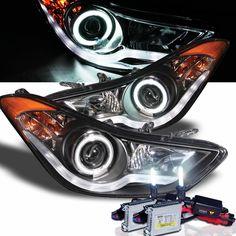 HID Xenon + 11-13 Hyundai Elantra CCFL Angel Eye Halo & LED DRL Projector Headlights - Black