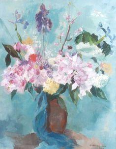 Jong G. de | Boeket zomerbloemen in een vaas, olieverf op doek 70,5 x 55,3 cm., gesigneerd r.o. en gedateerd 1948