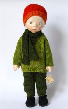"""14"""" Boy In Green Sweater all-wood jointed doll, Germany, 2011, by Elisabeth Pongratz."""