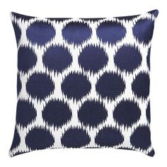"""Kingston 20"""" Pillow  $59.95  Streaked cobalt circles embroidered on warm cream buzz in and out of focus in a fun optical pattern. Pillow reverses to solid blue back and is finished to a knife edge for a crisp, modern look."""