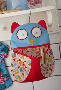 OWL Clothes Pin Peg Bag - Removable cover - Perfect for your Laundry Room