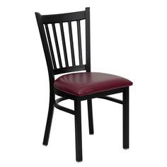 HERCULES Black Vertical Back Metal Restaurant Chair - Burgundy Vinyl Seat