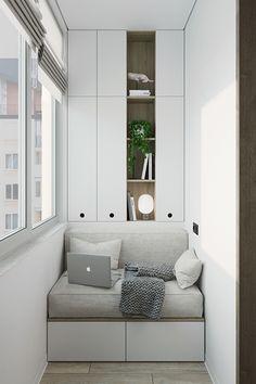The interior design of a tiny apartment for a couple. Small Balcony Design, Small House Interior Design, Small Balcony Decor, Home Room Design, Home Office Design, Home Office Decor, House Design, Outdoor Balcony, Balcony Ideas