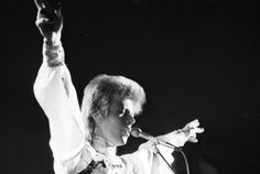 "berlin-1976: "" David Bowie performing on stage, photographed by Roger Bamber, 1973 """