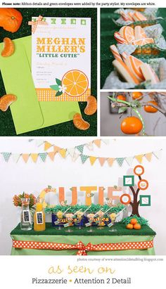 Orange party Personalized DIY printable treat bag by Chickabug