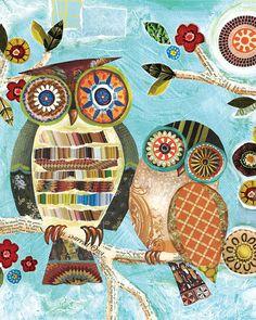 Owl art Two Owls Lori Siebert Mixed Media by LoriSiebertStudio,