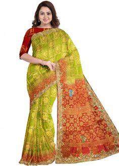 #green #woven #bridal #kanjivaram #silk #saree #blouse #attractive #design #sareelove #new #arrivals #beautiful #indianwear #ootd #traditional #womenswear #online #shopping