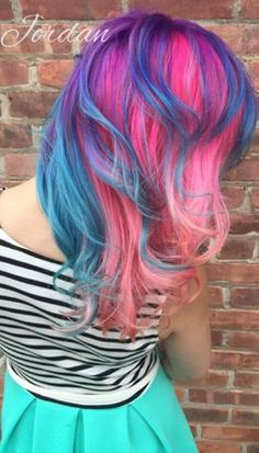Blue pink purple dyed hair color @pinupjordan