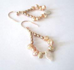 Keishi Pearl Rose Gold Earrings Peach Cream by SendingLoveGallery