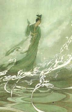 Tanabata ; 1925 ; Bertha Lum - This painting represents Tanabata crossing the Milky Way on the back of Magpies.