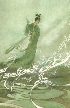 Bertha Lum, Tanabata, 1925,  represents Tanabata crossing the Milky Way on the back of Magpies.