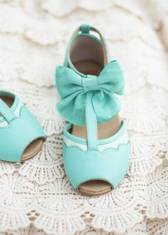 Avery in Seaglass robin's egg blue dress shoes with scallops and bow for little girl