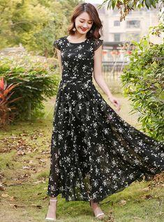 Dresses   Maxi Dresses   Brief Mesh Floral Print Maxi Dress Floral Print Maxi Dress, Chiffon Maxi Dress, Print Chiffon, Shadi Dresses, Modest Dresses, Long Dresses, Dress Patterns, Mesh, Lob Hair