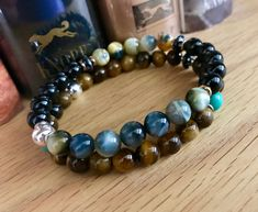 Your place to buy and sell all things handmade Gemstone Bracelets, Bracelets For Men, Tiger Eye Bracelet, Black Tourmaline, Healing Stones, Bracelet Making, Special Gifts, Gifts For Him, Anniversary Gifts