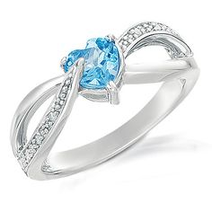 Blue Topaz & Diamond Heart Ring $17.00 w/ coupon + FREE shipping at DiamondShark.com