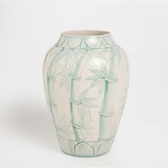 Ceramic vase with hand-painted bamboo pattern
