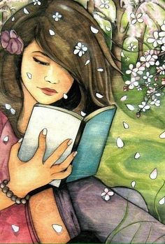 (Claudia Tremblay) Spring is here . time to read amongst the blossoms Sketches, Illustration, Art Drawings, Drawings, Painting, Reading Art, Art, Anime, Book Art