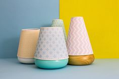The Macarons by Davide G. Aquini - Each lamp is composed of an American tulipwood base and a patterned lampshade vintage texture.