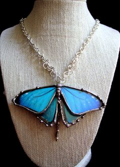 Blue Butterfly Sterling Silver Plated Necklace - Real Butterfly Jewelry