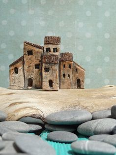 Miniature Medieval Italian village - group of old houses - OOAK ceramic  mini sculpture