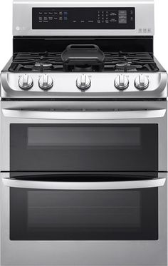 LG - 6.9 Cu. Ft. Gas Self-Cleaning Freestanding Double Oven Range with ProBake Convection - Stainless Steel
