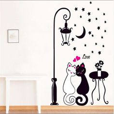 Rumas Romantic Cat Wall Decals for Bedroom - Art DIY Home Decor Wall Murals - Removable Wall Stickers for Living Room Bathroom Office - Peel & Stick Wallpaper (Black) Personalised Wall Stickers, Cheap Wall Stickers, Removable Wall Stickers, Decoration Stickers, Wall Stickers Home Decor, Asian Home Decor, Cat Wall, Wall Decal Sticker, Cat Lovers