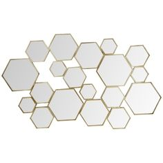 Gold Hex Mirror 82x129cm | Freedom Furniture and Homewares