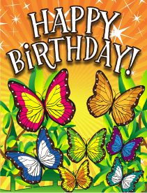 This small birthday card has butterflies on the front, and folds into quarters. Free to download and print