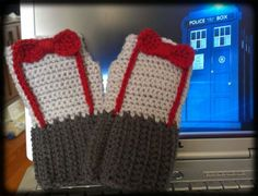 Doctor Who Crocheted Fingerless Gloves *cough cough* sister should make me these for christmas...