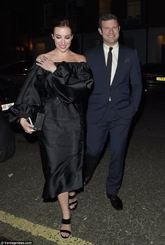 Loved-up: Dermot O'Leary and wife Dee Koppang looked the picture of happiness as they stepped out at the party following the Elle Style Awards